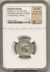Ancient Coins - ROMAN EMPIRE - Gordian III, AR Double-Denarius, Rome mint - NGC Ch XF