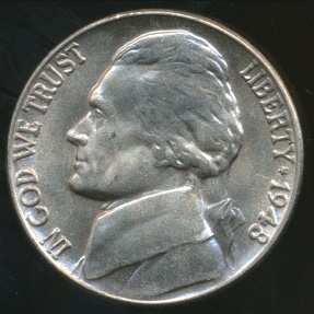 World Coins - United States, 1948 5 Cents, Jefferson Nickel - Uncirculated