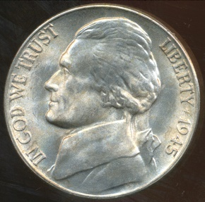 World Coins - United States, 1945-D 5 Cents, Jefferson Nickel (Silver) - Uncirculated