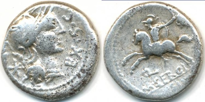 Ancient Coins - ROMAN REPUBLIC - M.SERGIUS Silus, AR Denarius, (c.116-115 B.C.), Rome mint, (17mm, 3.73 g) - Cr.286/1