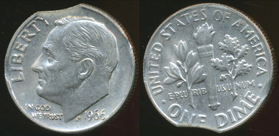 World Coins - United States, 1966 Dime, Roosevelt, Clipped Planchit Error - Uncirculated