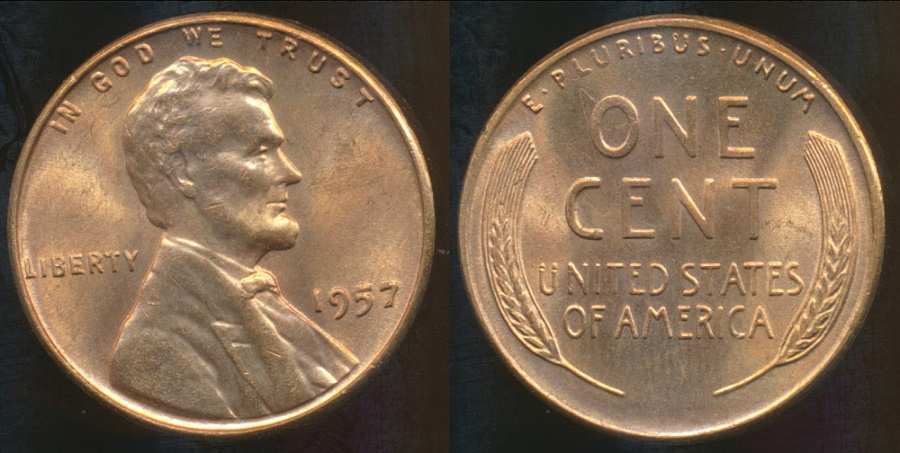 World Coins - United States, 1957 One Cent, Lincoln Wheat - Choice Uncirculated