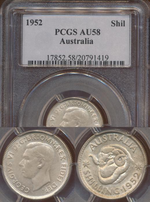World Coins - Australia, 1952 Shilling - PCGS AU58