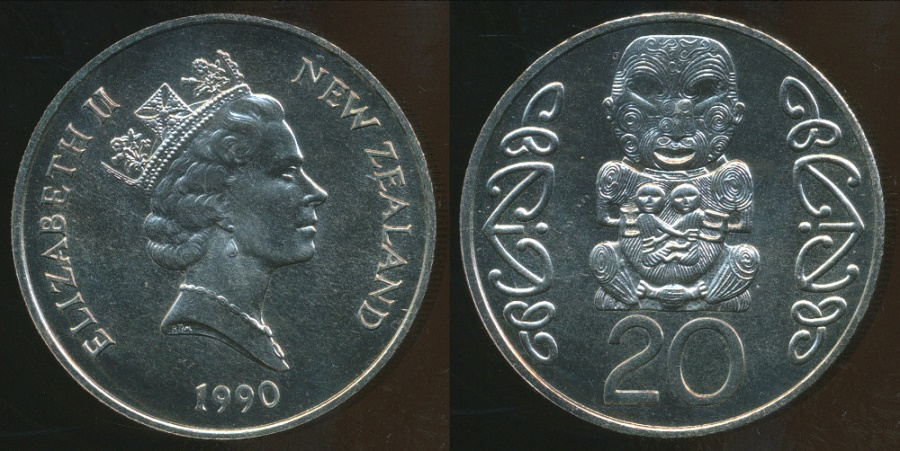 World Coins - New Zealand, 1990 Twenty Cents, 20c, Elizabeth II - Choice Uncirculated