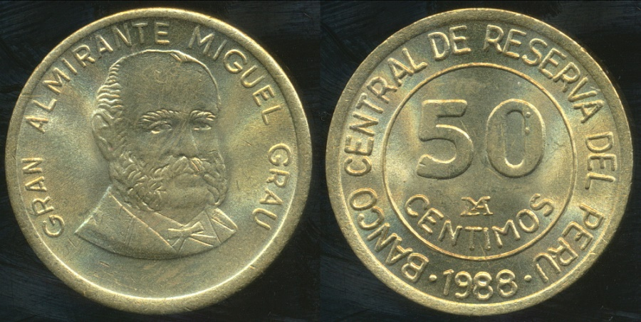 World Coins - Peru, Republic, 1988 50 Centimos (General Grau) - Uncirculated
