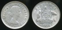 World Coins - Australia, 1956 Sixpence, 6d, Elizabeth II (Silver) - Very Fine
