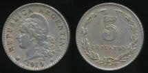 World Coins - Argentina, Republic, 1919, 5 Centavos - Extra Fine