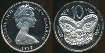 World Coins - New Zealand, 1977 10 Cents, Elizabeth II - Proof