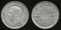 World Coins - Australia, 1952 Threepence, 3d, George VI (Silver) - Very Fine