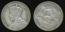World Coins - New Zealand, 1933 One Shilling, 1/-, George V (Silver) - Fine