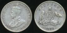 World Coins - Australia, 1936 Sixpence, 6d, George V (Silver) - Fine
