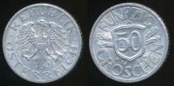 World Coins - Austria, Republic, 1952 50 Groschen - almost Uncirculated