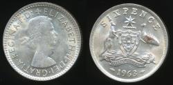 World Coins - Australia, 1963 Sixpence, 6d, Elizabeth II (Silver) - Extra Fine