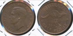 World Coins - Australia, 1942(I) Halfpenny, 1/2d, George VI - Uncirculated