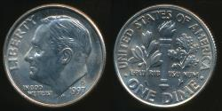 World Coins - United States, 1997-D Dime, Roosevelt - Uncirculated
