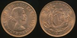 World Coins - Great Britain, Kingdom, 1967 Halfpenny, 1/2d, Elizabeth II - Uncirculated