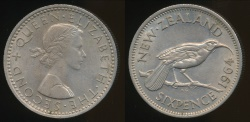 World Coins - New Zealand, 1964 Sixpence, 6d, Elizabeth II - almost Uncirculated
