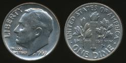 World Coins - United States, 1969 Dime, Roosevelt - Uncirculated