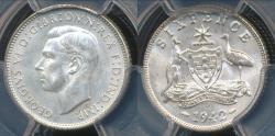 World Coins - Australia, 1942(D) Sixpence, 6d, George VI (Silver) - PCGS MS64 (Ch-Unc)