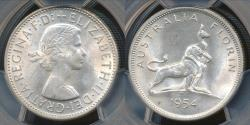 World Coins - Australia, 1954 Florin, 2/-, George VI (Royal Visit)(Silver - PCGS MS62 (Unc)