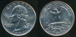 World Coins - United States, 1997-D Quarter, 1/4 Dollar, Washington - Uncirculated