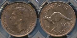World Coins - Australia, 1949(m) One Penny, 1d, George VI - PCGS MS63RB (Ch-Unc)