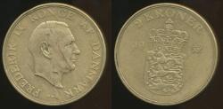 World Coins - Denmark, Kingdom, Frederik IX, 1952 2 Kroner, lamination Error - Extra Fine