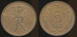 World Coins - Denmark, Kingdom, Frederik IX, 1963 5 Ore - almost Uncirculated