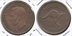 World Coins - Australia, 1951(p) Halfpenny, 1/2d, George VI - almost Uncirculated