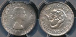 World Coins - Australia, 1960(m) One Shilling, 1/-, Elizabeth II (Silver) - PCGS PR64 (Proof)
