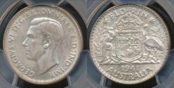 World Coins - Australia, 1941(m) Florin, 2/-, George VI (Silver) - PCGS AU58 (aUnc)