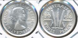 World Coins - Australia, 1964(m) Threepence, 3d, Elizabeth II (Silver) - Choice Uncirculated