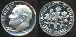 World Coins - United States, 1985-S Dime, Roosevelt - Proof