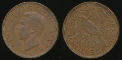 World Coins - New Zealand, 1950 One Penny, 1d, George VI - Extra Fine