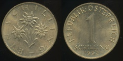 World Coins - Austria, Republic, 1992 1 Schilling - Uncirculated