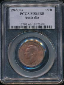 World Coins - Australia, 1943(m) Halfpenny, 1/2d, George VI - PCGS MS64RB (Ch-Unc)