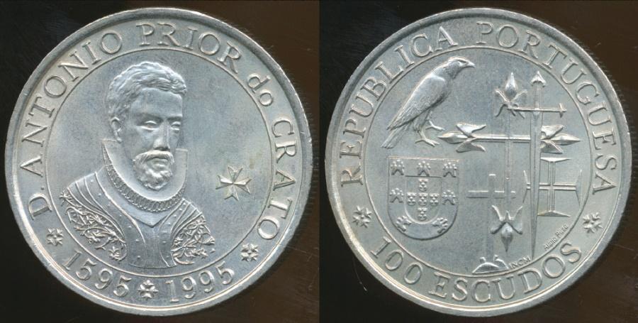 World Coins - Portugal, Republic, 1995 100 Escudos (400th Anniversary - Antonio Prior de Crato) - Uncirculated