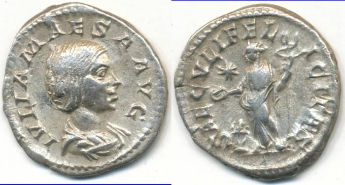 Ancient Coins - JULIA MAESA. AR Denarius, AD 223-226, Rome mint, (20mm, 2.96gm) - RIC IV, 272 (Elagabalus)