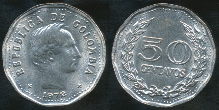 World Coins - Colombia, Republic, 1972 50 Centavos - Uncirculated
