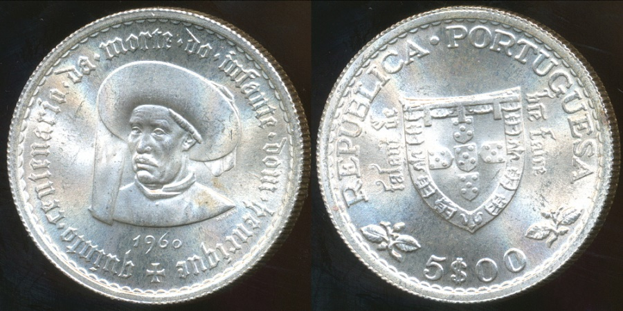 World Coins - Portugal, Republic, 1960 5 Escudos (500th Anniversary - Death of Prince Henry the Navigator)(Silver) - Choice Uncirculated