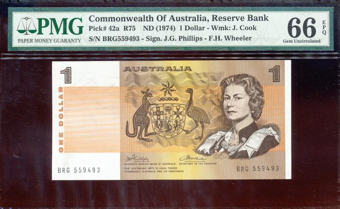 World Coins - Australia - $1 Phillips-Wheeler, (1974) R75 - PMG 66EPQ