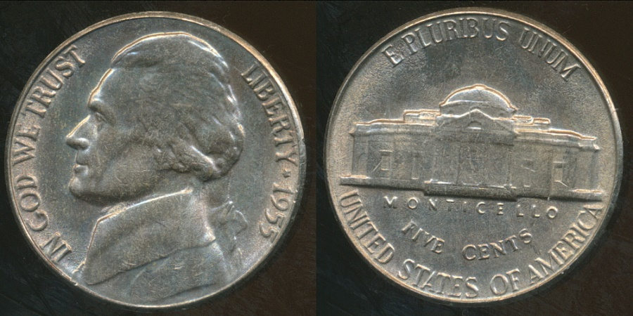 World Coins - United States, 1955 5 Cents, Jefferson Nickel - Uncirculated