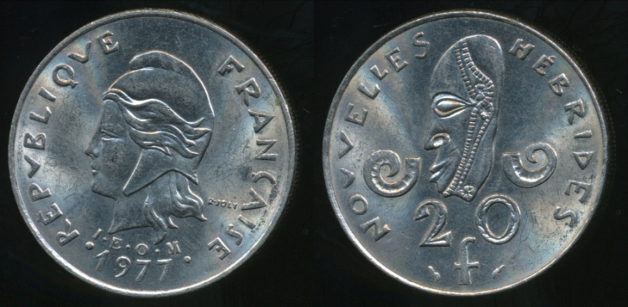 World Coins - New Hebrides, French/British Condominium, 1977 20 Francs - almost Uncirculated