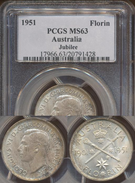 World Coins - Australia, 1951 (Jubilee) Florin, George VI - PCGS MS63