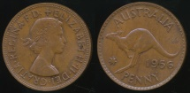 World Coins - Australia, 1956(m) One Penny, 1d, Elizabeth II - Uncirculated