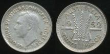 World Coins - Australia, 1952(m) Threepence, 3d, George VI (Silver) - Fine/Very Fine