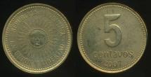 World Coins - Argentina, Republic, 2007 5 Centavos - Uncirculated
