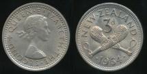 World Coins - New Zealand, 1964 Threepence, 3d, Elizabeth II - Uncirculated