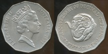 World Coins - Australia, 1991 Fifty Cents, 50c, Elizabeth II (25th Anniversary of Decimal Currency) - Uncirculated