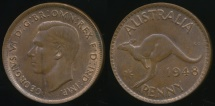 World Coins - Australia, 1948(m) One Penny, 1d, George VI - Uncirculated